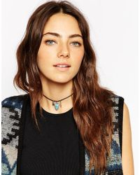ASOS - Black Festival Bead Choker Necklace With Feather Charm - Lyst