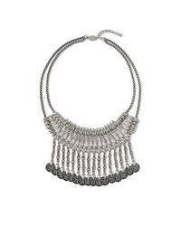 Vince Camuto | Metallic Disc Fringe Oxidized Silver Necklace | Lyst