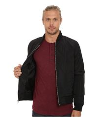 Members Only | Black Quilted Zip Front Bomber Jacket for Men | Lyst