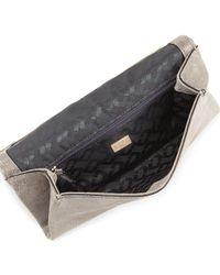 Diane von Furstenberg - Gray Metallic Suede Evening Clutch Bag - Lyst