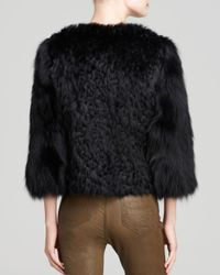 Maximilian | Black Embroidered Rabbit Fur Jacket With Fox Fur Sleeves | Lyst