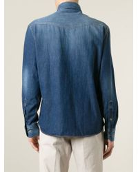 Brunello Cucinelli - Blue Faded Denim Shirt for Men - Lyst