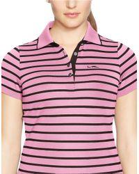 Lauren by Ralph Lauren | Pink Plus Striped Pique Polo Shirt | Lyst