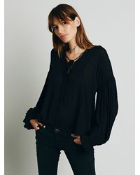 Free People | Black Lace Up Extreme Sleeve Top | Lyst
