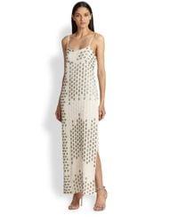 Haute Hippie - White Beaded Crepe Gown - Lyst