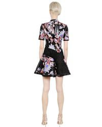Mary Katrantzou - Black Laminated Cotton Canvas & Lace Dress - Lyst