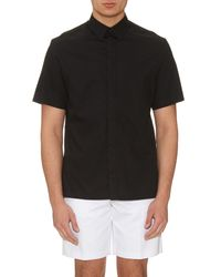 Balenciaga - Black Cotton-poplin Short-sleeved Shirt for Men - Lyst