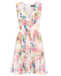 Pussycat | Bird Print Crossover Flared White Dress | Lyst