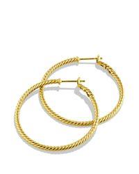 David Yurman   Metallic Cable Classics Hoop Earrings In Gold   Lyst
