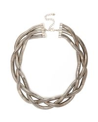 River Island - Metallic Silver Tone Chunky Twisted Necklace - Lyst