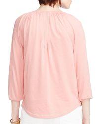 Lauren by Ralph Lauren | Pink Jersey Peasant Top | Lyst