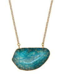 Panacea | Blue Agate Pendant Necklace | Lyst