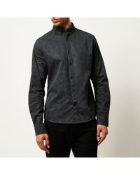 River Island - Gray Grey Only & Sons Print Shirt for Men - Lyst
