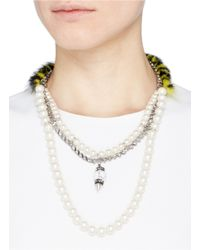 Venna - White Faux Fur Resin Pearl Marble Bead Pendant Necklace - Lyst