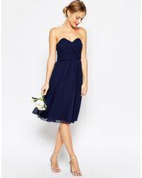 ASOS | Blue Wedding Chiffon Bandeau Midi Dress - Navy | Lyst