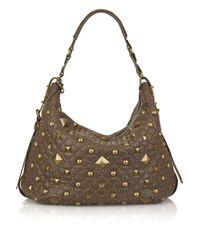 DKNY | Brown Studded Leather Shoulder Bag | Lyst