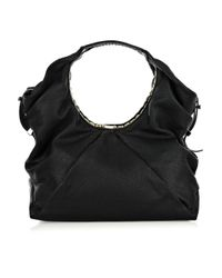 Jimmy Choo | Black Sylvia Large Grained Leather Bag | Lyst