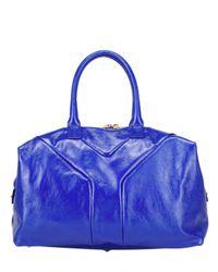 Saint Laurent | Blue Easy Medium Patent Tote | Lyst