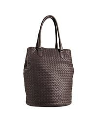 Bottega Veneta | Brown Tobacco Woven Leather Medium Cylinder Tote | Lyst