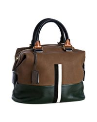 Céline | Brown Goatskin Stripe Detail Boston Bag | Lyst