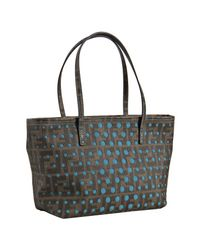 Fendi | Brown and Teal Perforated Zucca Spalmati Small Tote | Lyst