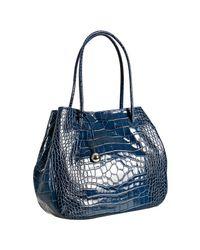 Furla | Dark Blue Croc Embossed Leather Giselle Tote | Lyst