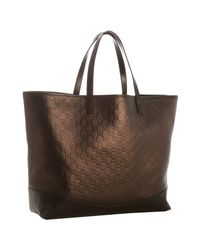 Gucci | Brown Bronze Ssima Leather Travel Tote | Lyst