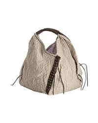 orYANY | Natural Cream Leather Trim Fabric Wendy Cloque Large Hobo | Lyst