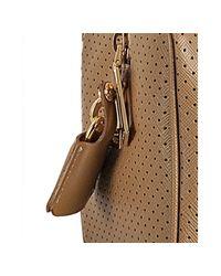 Prada - Natural Beige Perforated Saffiano Stripe Barrel Bag - Lyst