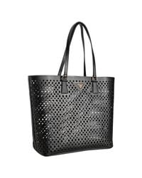 Prada | Black Cut-out Saffiano Shopping Tote | Lyst