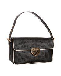 Prada | Black Perforated Calfskin Piped Shoulder Bag | Lyst