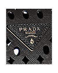 Prada - Black Perforated Saffiano Satchel - Lyst