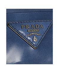 Prada | Blue Faded Leather Crystal Kisslock Small Clutch | Lyst