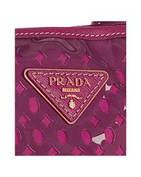 Prada - Purple Fuchsia Cut-out Pvc and Nylon Saffiano Detail Tote - Lyst