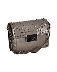 Prada | Gray Light Grey Studded Leather Mini Crossbody Bag | Lyst