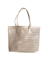 Prada | Natural Dusty Pink Saffiano Cutout Medium Tote | Lyst