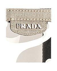 Prada - Gray Smoke Pvc and Linen Logo Large Tote - Lyst