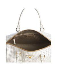 Prada - White and Black Perforated Saffiano Small Boston Bag - Lyst