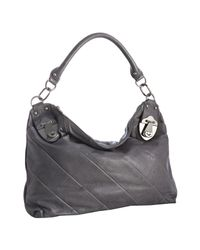 Rough Roses - Gray Grey Leather Jewel Hobo - Lyst