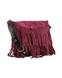 Susan Farber Collections | Purple Light Plum Suede Tahoe Fringe Crossbody Bag | Lyst