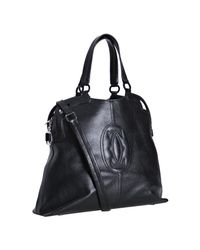 Cartier - Black Leather Logo Top Stitched Top Handle Bag - Lyst