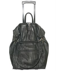 Elena Ghisellini | Black Distressed Calfskin Trolley Luggage | Lyst