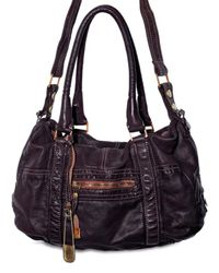 Sissi Rossi | Black Washed Bufalo Satchel Shoulder Bag | Lyst