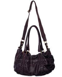 Sissi Rossi | Black Washed Bufalo Satchel Shoulder Bag | Lyst