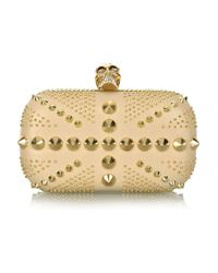 Alexander McQueen | Natural Brittania Punk Skull Leather Clutch | Lyst