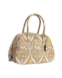 Prada | Natural Beige Tulip Printed Saffiano Medium Bowler Bag | Lyst