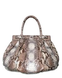 Zagliani | Gray Puffy Large Python Top Handle | Lyst