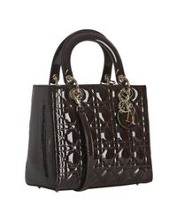 Dior | Brown Chocolate Patent Calfskin Lady Medium Tote | Lyst