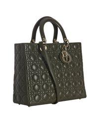 Dior - Dark Green Lambskin Cannage Lady Large Bag - Lyst