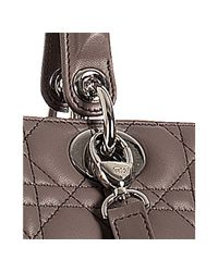Dior | Gray Grey Lambskin Lady Cannage Large Bag | Lyst